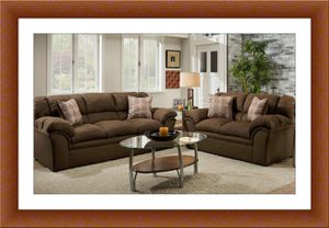 Chocolate fabric sofa and love seat free delivery for Sale in Alexandria, VA