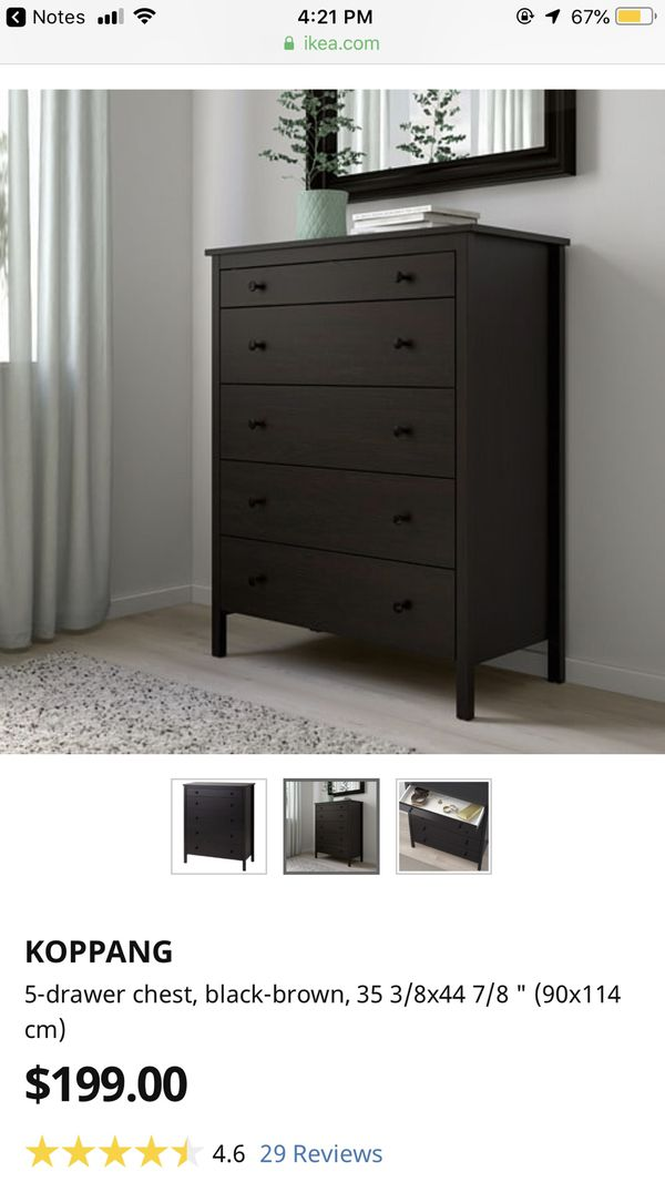 Black 5 Drawer Ikea Koppang Dresser For