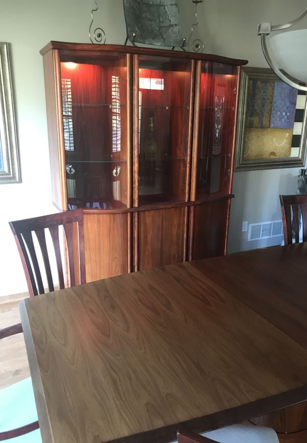 Contemporary Rosewood Dining Room Table Chairs And Hutch For Sale