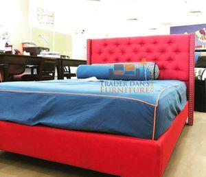 Brand New Full Size Red Linen Upholstered Platform Bed Frame ONLY for Sale in Kensington, MD