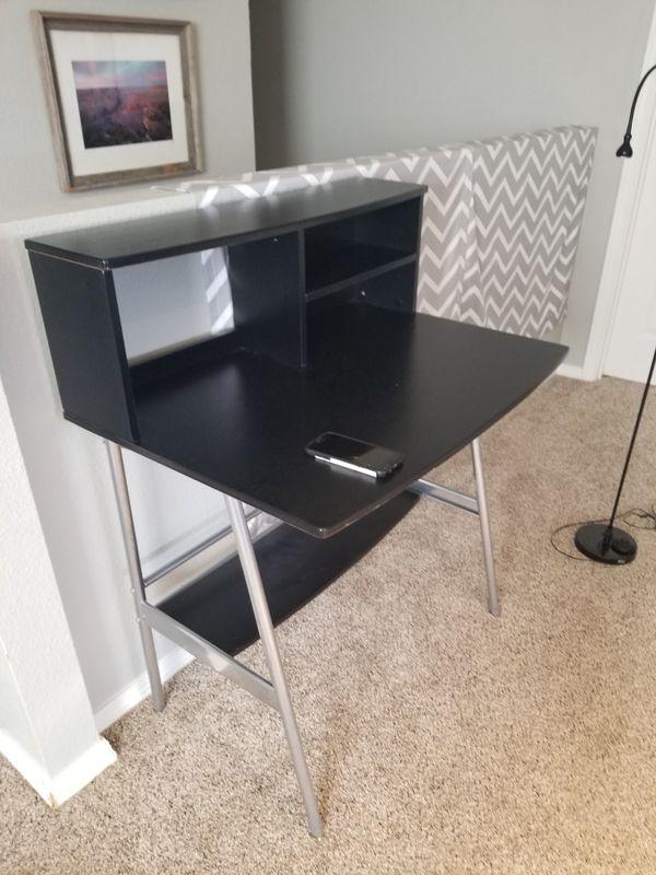 Computer On Desk Wood With Drawer Shelves Black Desks