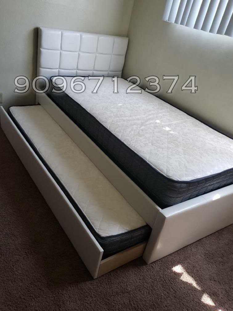 Twin Twin White Trundle Bed With Orthopaedic Mattress Included