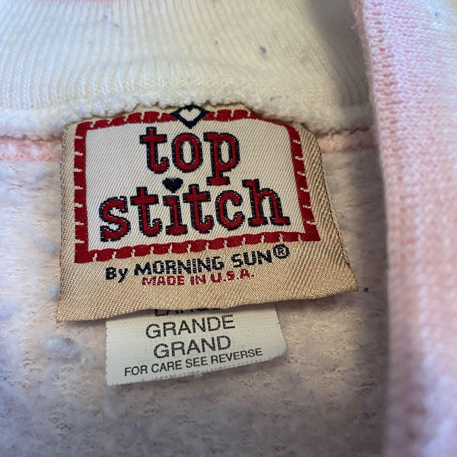 VTG Top Stitch Morning Sun Pink Sweatshirt Heart Shrubs Grandma Sweater USA L