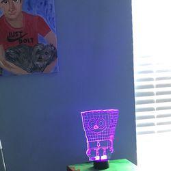Kids Room Decoration Soccer Or Sponge Bob 3D Lamp Thumbnail