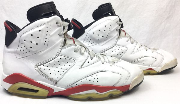 "f0845cedf633 Air Jordan 6 VI Retro ""Bulls"" White Varsity Red Black 2010 Release Men s  Shoes Size 11"