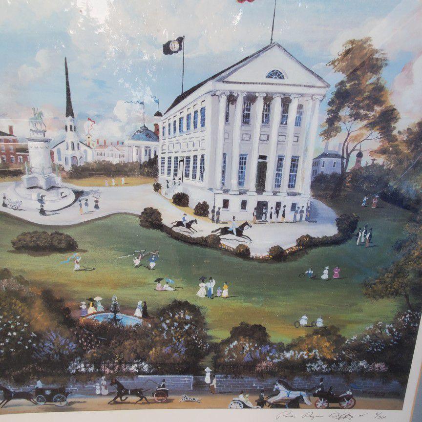 Capitol Sqere  Ricmond Virginia. By Paul.D. 1985. Singhd. Huge Art In Fraim .vintage. 30x40in