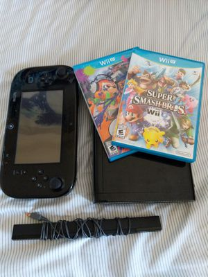 Black Wii U with 2 games and all cables for Sale in Hyattsville, MD