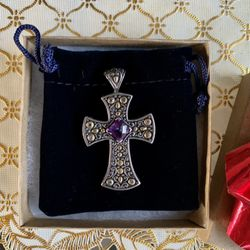 Sterling Silver and 18Kt Gold Cross Pendant  Thumbnail