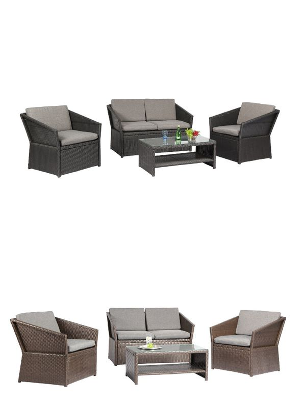 Azure Sky N77 Outdoor Furniture Complete Patio 4 Piece Polyethylene Wicker  Rattan Garden Set, Black and Brown, 2 colors available - Azure Sky N77 Outdoor Furniture Complete Patio 4 Piece Polyethylene
