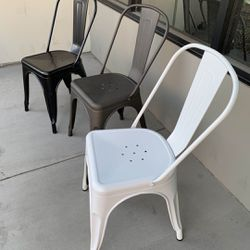 NEW $30 Each Metal Iron Steel Chair Black White or Gun Metal Color Stackable 340 lbs Capacity Dining Indoor Outdoor Chair  Thumbnail