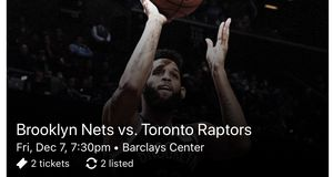Brooklyn Nets vs Toronto Raptors Tonight - 2 Tickets **Section 228 Row 3 Seat 3-4** for Sale in New York, NY