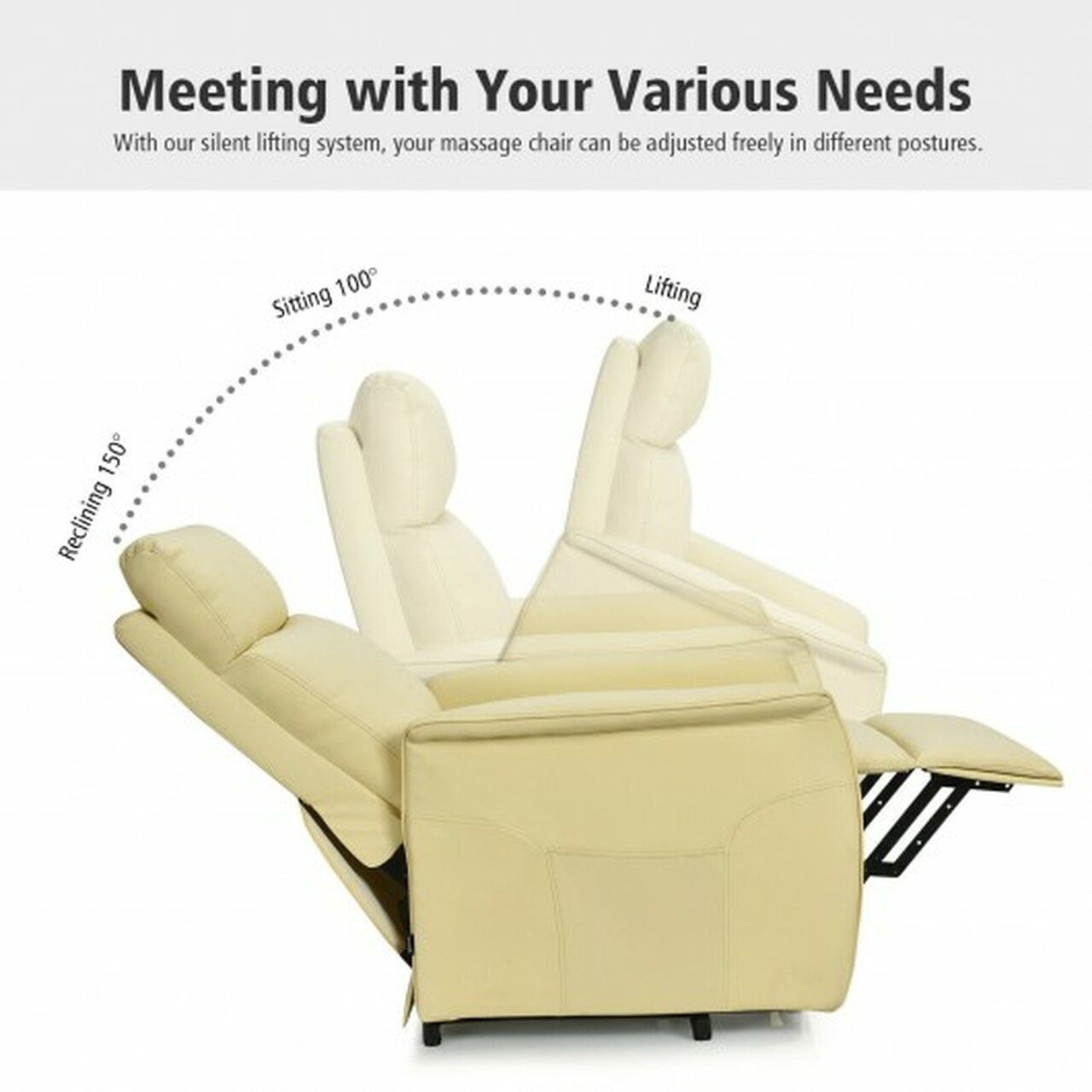 400W24 //  Electric Power Lift Massage Sofa Recliner Vibrating Chair w/Remote Control Beige