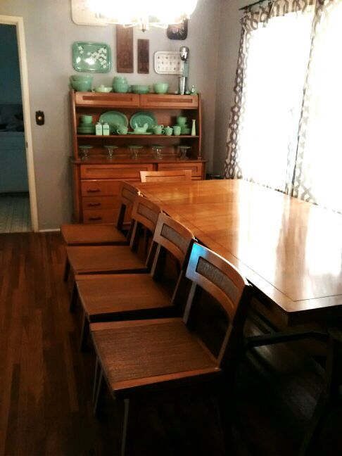 Vintage Dining Table 6 Chairs And Hutch For Sale In