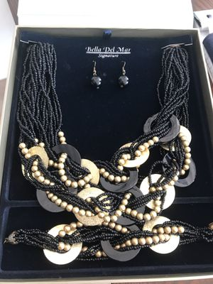 Black and gold statement necklace and matching bracelet with earrings for Sale in Washington, DC