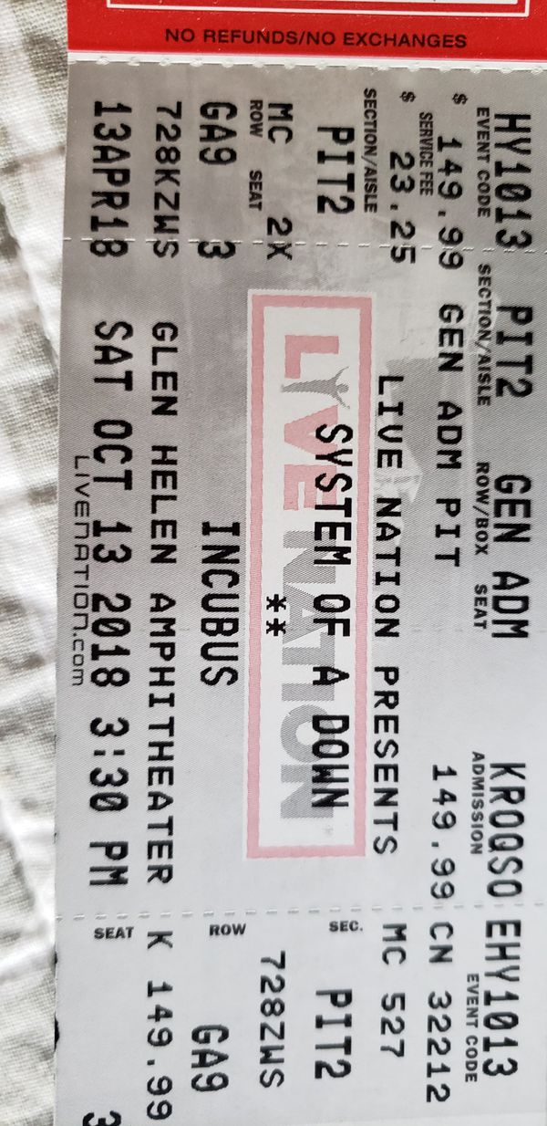 (2) System of a Down PIT tickets! Glen Helen (October 13, 2018) for Sale in  Rowland Heights, CA - OfferUp