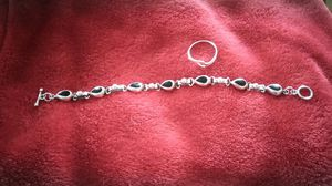 Sterling silver bracelet with black onyx and a sterling silver ring size 7 for Sale in TN, US