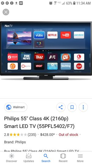 Phillips 55 inch 4k uhd tv for Sale in North Chesterfield, VA