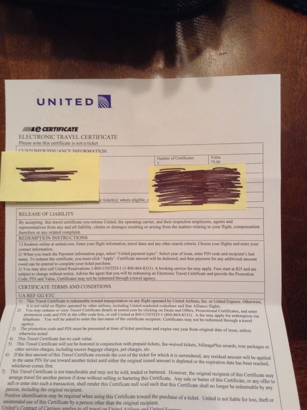 75 United Travel Certificate For Sale In Eagan Mn Offerup