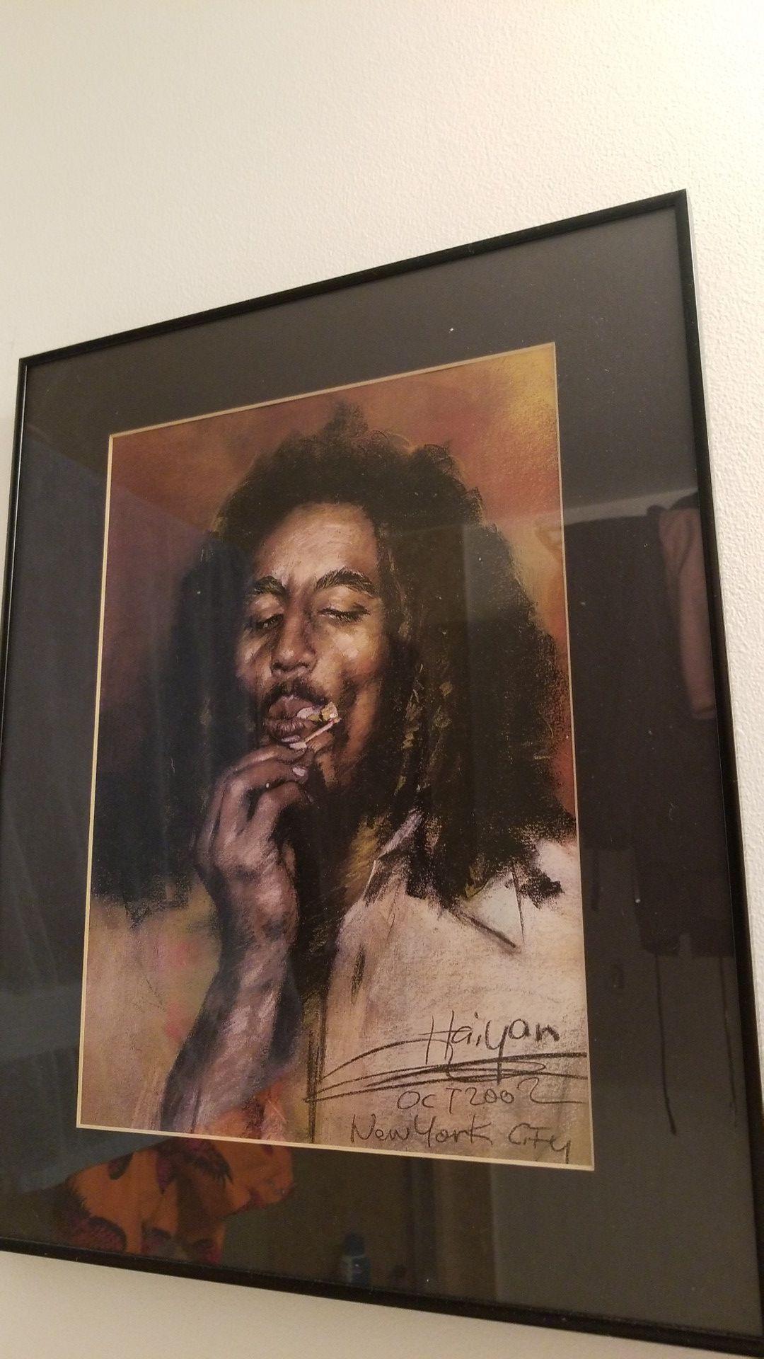 Bob Marley hand drawn in solid black frame