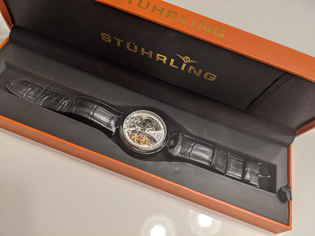 Stuhrling Emperor's Grand DT 3920 Automatic 46mm Skeleton in excellent condition
