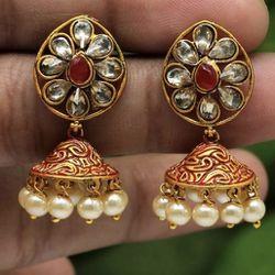 Cute Meenakari Jhumki Earrings With Glass Stones And Faux Pearl Beads  Thumbnail