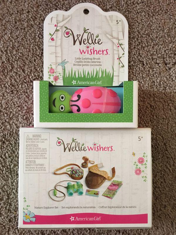 American Girl Wellie Wishers Nature Explorer Set binocular,bag,compass-New