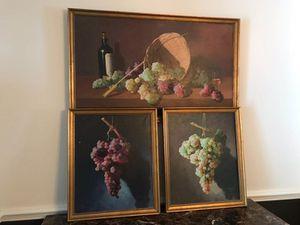 Set of 3 M.V. Millan original oil on canvas grapes wine - $3000 (Reston) for Sale in Reston, VA