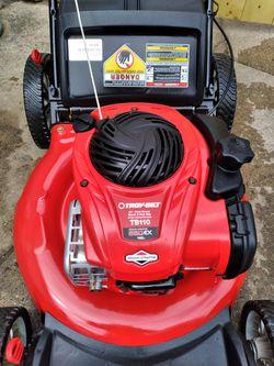 "LIKE-NEW Troy-Bilt 21"" Inch Push Lawnmower W/Bag And High Rear Wheels Thumbnail"