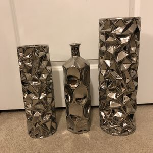 Three (3) silver accent vases for Sale in Falls Church, VA