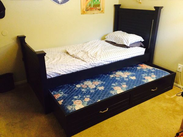 Cafe Kid navy blue twin Trundle Bed & Mattresses for Sale in
