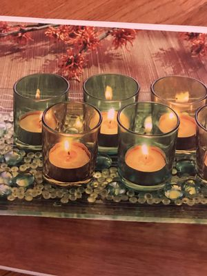 Terra - 8 pc votive decorative glass set. Includes 7 votives, glass tray and decorative beads (tea-lights not included) for Sale in Fairfax, VA