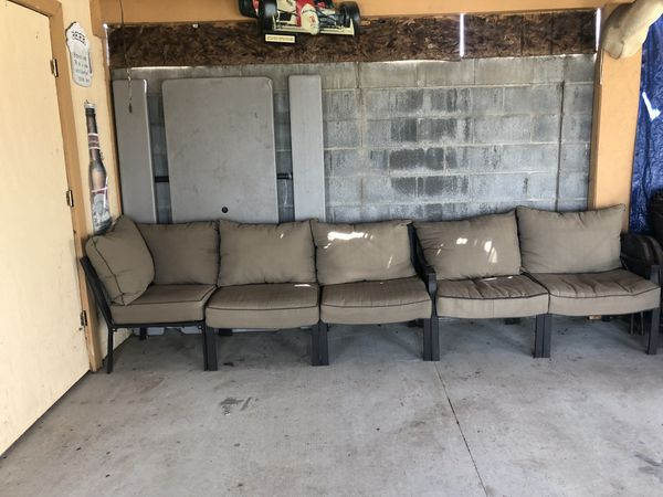 Mainstays Sandhill 7-Piece Outdoor Sofa Sectional Set, Seats 5 for ...