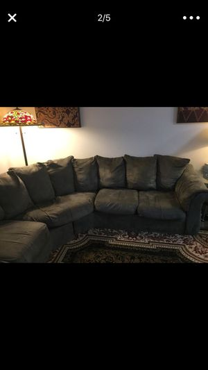 Olive Green Long Sectional Couch(NEED GONE ASAP) for Sale in Woodbridge, VA