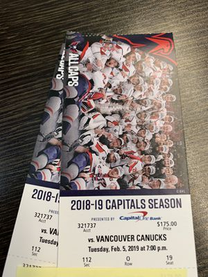 Caps. Vs Canucks Feb 5th for Sale in Alexandria, VA