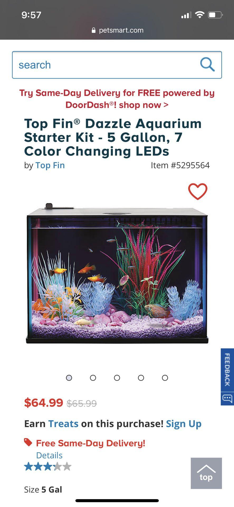 5 Gallon Fish Tank New Unopened! Firm $35!