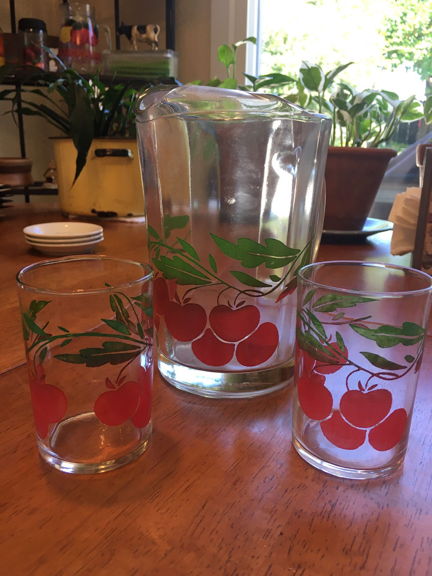 Antique Glass CherryJuice pitcher and 2 cups