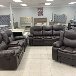 Brand New Leather Gel 3PC Reclining Living Room Set  Thumbnail