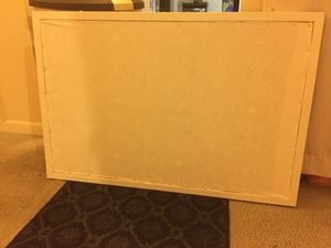 Cork Board painted white with fabric back for Sale in Silver Spring, MD