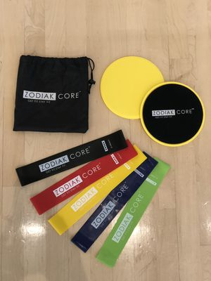 Core sliders and resistance loop bands for home gym fitness workout for Sale in San Francisco, CA