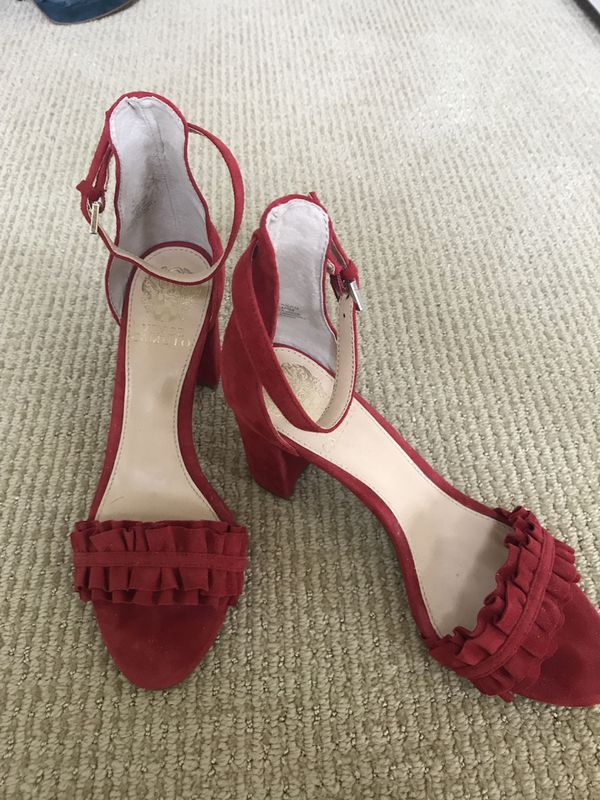 9757511cb Vince Camuto red suede block heel ankle strap size 7 1 2 for Sale in ...