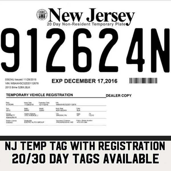 Nj temp tags for Sale in Bronx, NY - OfferUp