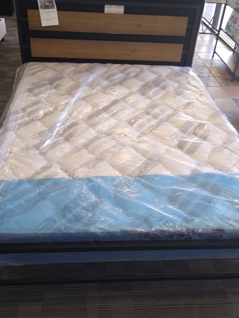 Queen size platform bed frame with Pillow Top Mattress included