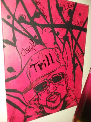 Small original Bun B Trill Fam UGK portrait painting one of one artwork signed by artist for Sale in OH, US