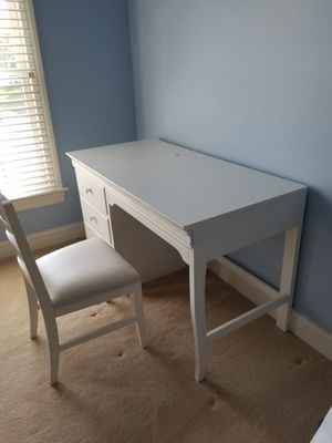 White wooden desk and chair for Sale in Great Falls, VA