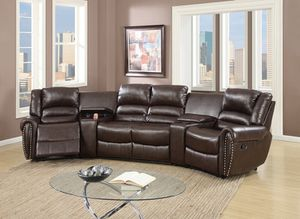 New Home Entertainment Theatre Sectional. Espresso Leather. Free Delivery! for Sale in Los Angeles, CA
