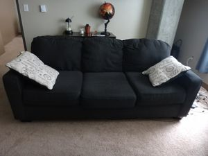 Alenya Charcoal sofa with 2 throw pillows for Sale in Seattle, WA