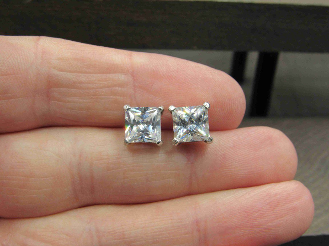 Sterling Silver Square Large Cubic Zirconia Stud Earrings Vintage Wedding Engagement Anniversary Beautiful Everyday Minimalist Cute Sexy