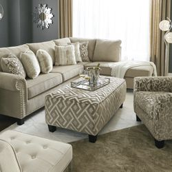Same day delivery🙏 👉🏻 Dovemont Putty RAF Sectional💁♀️Best Offer 💁♀️- $39 Down 👍👍 Thumbnail