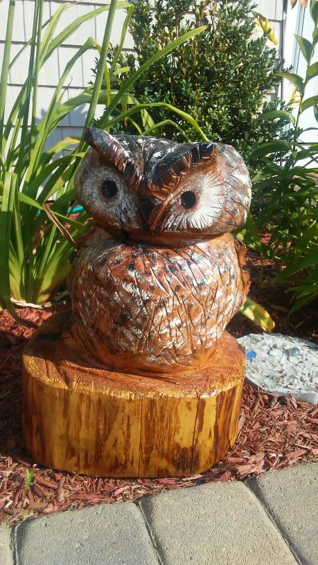 Owls chainsaw carving rob beckinsale flickr