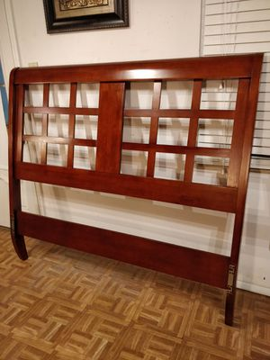 Solid wood modern Queen headboard in very good condition, pet free smoke free. for Sale in Annandale, VA